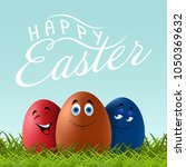 happy easter lettering with... | Shutterstock .eps vector #1050369632