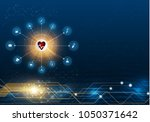 abstract bright glitter blue... | Shutterstock .eps vector #1050371642