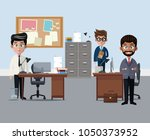 coworkers at office cartoons | Shutterstock .eps vector #1050373952