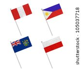 nation flag. flag pole recycled ... | Shutterstock . vector #105037718