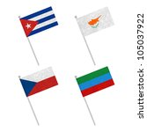nation flag. flag pole recycled ... | Shutterstock . vector #105037922
