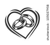 Wedding Ring In Heart Vector...