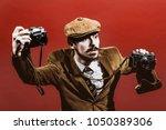 very positive photographer... | Shutterstock . vector #1050389306