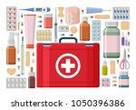 pharmacy background. different... | Shutterstock .eps vector #1050396386