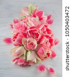 flat lay with pink tulips and... | Shutterstock . vector #1050403472
