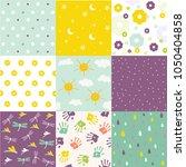 baby shower set of patterns | Shutterstock .eps vector #1050404858