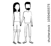 young couple avatars characters | Shutterstock .eps vector #1050405575