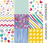 set of easter patterns | Shutterstock .eps vector #1050406352