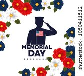 happy memorial day with... | Shutterstock .eps vector #1050411512