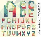 vector isometric pixel alphabet....   Shutterstock .eps vector #1050413018