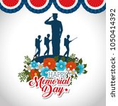 happy memorial day with... | Shutterstock .eps vector #1050414392