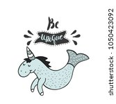 be unique. greeting kids card.... | Shutterstock .eps vector #1050423092