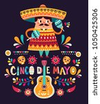 cute mexican man with maracas... | Shutterstock .eps vector #1050425306