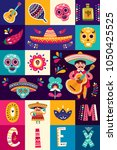 mexican collection with mexican ... | Shutterstock .eps vector #1050425525