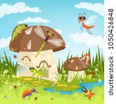 fairytale landscape with funny...   Shutterstock .eps vector #1050426848