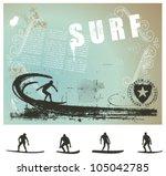 surf grunge background with big ... | Shutterstock .eps vector #105042785
