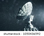 a very large radio telescope... | Shutterstock . vector #1050436592
