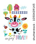 poster with a cute cow on a... | Shutterstock .eps vector #1050439145