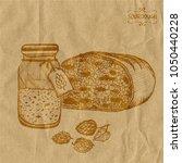 a jar with sourdough hops next... | Shutterstock .eps vector #1050440228