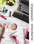 woman desktop with laptop top...   Shutterstock . vector #1050440522