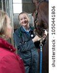 Female Vet Examining Horse In...