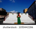 urban landscape in teggiano ... | Shutterstock . vector #1050442286