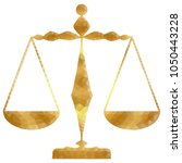 golden justice scales or zodiac ... | Shutterstock .eps vector #1050443228