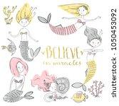 cute little mermaid set.... | Shutterstock .eps vector #1050453092