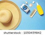 flat lay photo sun hat  vintage ... | Shutterstock . vector #1050459842