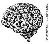 sex brain. linocut vector... | Shutterstock .eps vector #1050461282