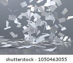 flying sheets of white paper ... | Shutterstock . vector #1050463055