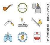 smoking color icons set.... | Shutterstock .eps vector #1050464435