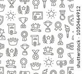 seamless pattern with awards.... | Shutterstock .eps vector #1050464912