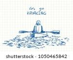 sketch of kayaking woman view... | Shutterstock .eps vector #1050465842
