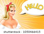 sexy blonde woman  pin up style ... | Shutterstock .eps vector #1050466415