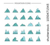 mountain icons set  blue color | Shutterstock .eps vector #1050471545