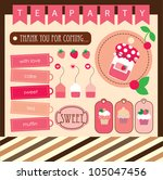 cute tea party scrap collection.... | Shutterstock .eps vector #105047456