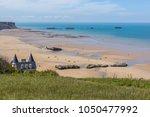 arromanches les bains beach... | Shutterstock . vector #1050477992