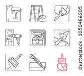 Construction Tools Linear Icon...