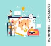 freelance. remote work. team... | Shutterstock .eps vector #1050520088