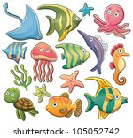 sea animals collection | Shutterstock .eps vector #105052742