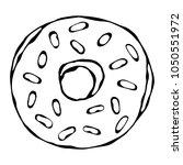 sweet donut with sugar glaze... | Shutterstock .eps vector #1050551972