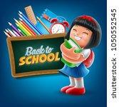 chinese little girl studying | Shutterstock .eps vector #1050552545