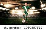 kid   soccer player. boy... | Shutterstock . vector #1050557912