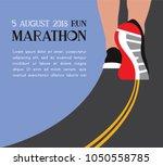 athlete runner feet running on... | Shutterstock .eps vector #1050558785