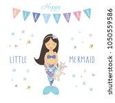 birthday card template. little... | Shutterstock .eps vector #1050559586