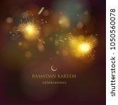 ramadan fireworks night | Shutterstock .eps vector #1050560078