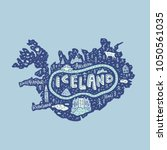 illustrated map of iceland.... | Shutterstock .eps vector #1050561035