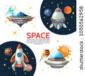 cartoon colorful space poster... | Shutterstock .eps vector #1050562958