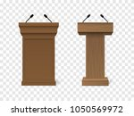 set of vector brown podium... | Shutterstock .eps vector #1050569972
